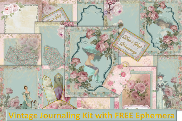 Print on Demand: Vintage Shabby Chic Full Journal Kit Graphic Crafts By The Paper Princess - Image 1