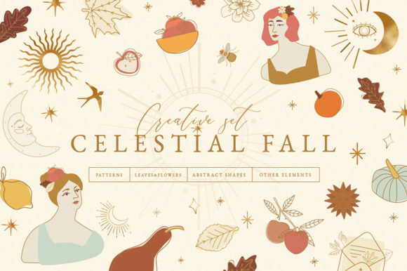 Celestial Fall Graphic Set Graphic Illustrations By NassyArt