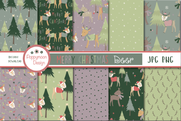 Print on Demand: Merry Christmas Deer Paper Graphic Patterns By poppymoondesign - Image 1