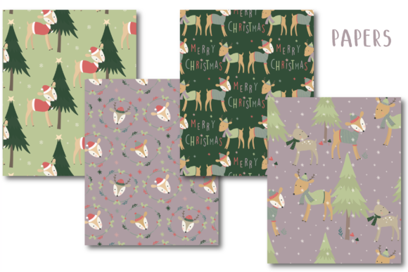 Print on Demand: Merry Christmas Deer Paper Graphic Patterns By poppymoondesign - Image 2