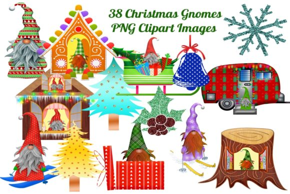 Print on Demand: 38 Christmas Gnomes Clip Art Images Graphic Illustrations By Scrapbook Attic Studio