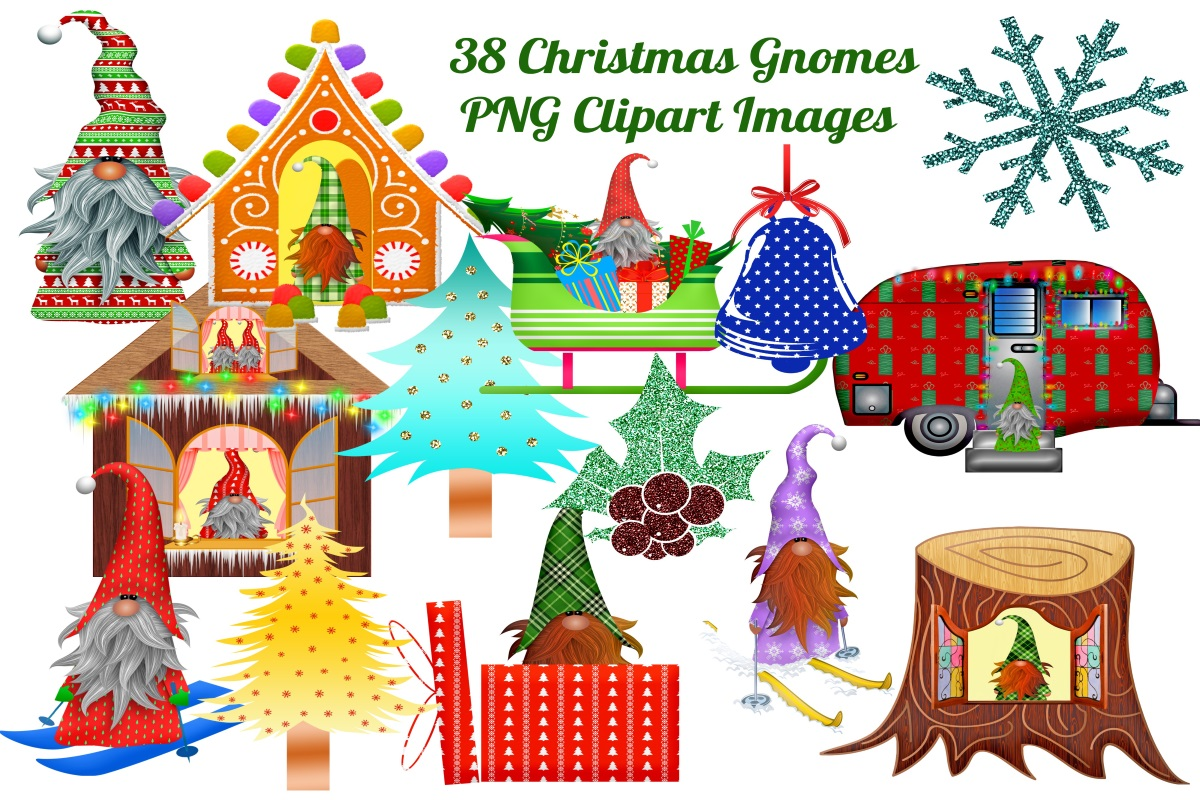 Download Free 38 Christmas Gnomes Clip Art Images Graphic By Scrapbook Attic for Cricut Explore, Silhouette and other cutting machines.