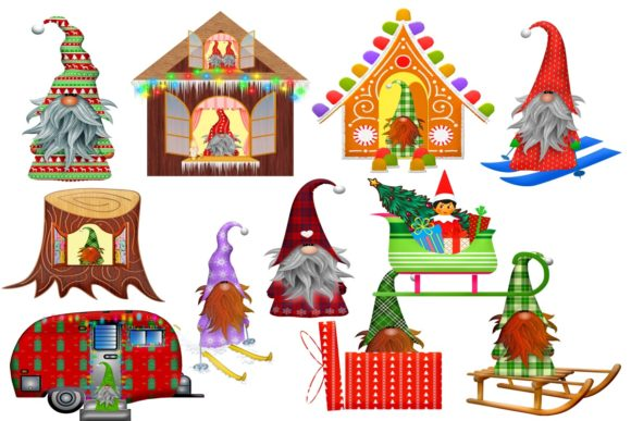 Print on Demand: 38 Christmas Gnomes Clip Art Images Graphic Illustrations By Scrapbook Attic Studio - Image 2