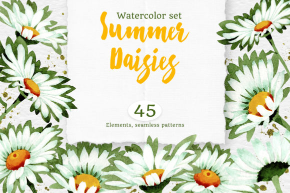 Print on Demand: Watercolor Daisy White Flower Graphic Illustrations By MyStocks