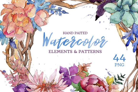 Print on Demand: Succulent Watercolor Flowers Graphic Illustrations By MyStocks