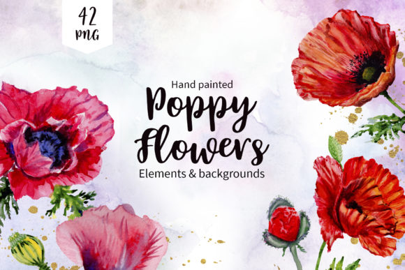 Print on Demand: Poppy Red Flower Watercolor Graphic Illustrations By MyStocks