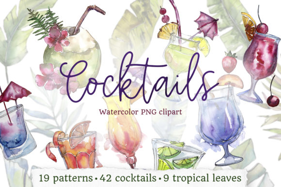 Print on Demand: Cocktail Illustrations Watercolor Party Graphic Illustrations By MyStocks - Image 1