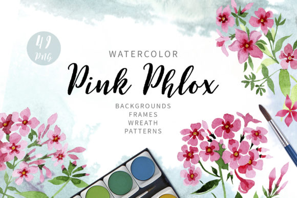 Print on Demand: Pink Phlox Flower Watercolor Graphic Illustrations By MyStocks