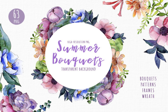 Print on Demand: Bouquet of Summer Flowers Intrigue Watercolor Gráfico Ilustraciones Por MyStocks