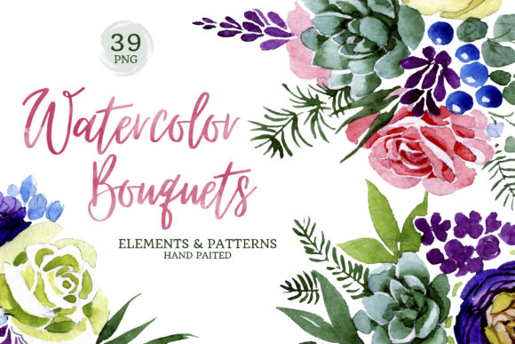 Print on Demand: Bouquet of Colourful Flowers Wedding Watercolor Graphic Illustrations By MyStocks - Image 1