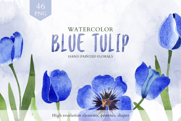 Print on Demand: Tulip Watercolor Clipart Blue  Graphic Illustrations By MyStocks