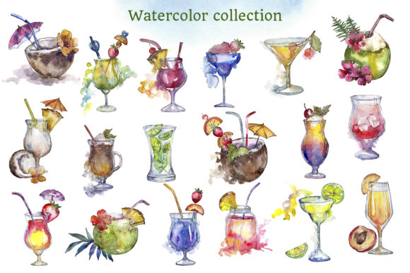 Print on Demand: Cocktail Illustrations Watercolor Party Graphic Illustrations By MyStocks - Image 2
