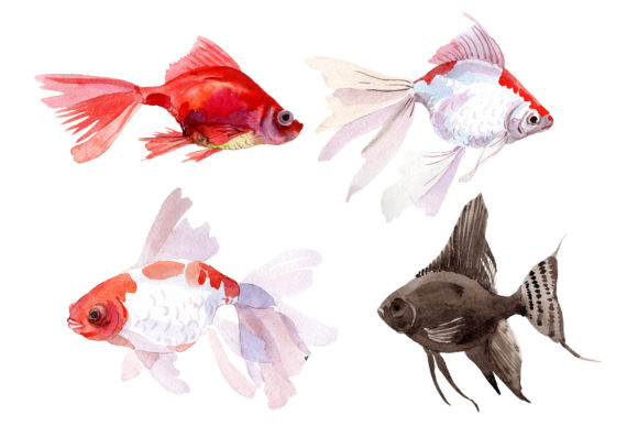 Print on Demand: Fairytale Red Goldfish Watercolor Graphic Illustrations By MyStocks - Image 2