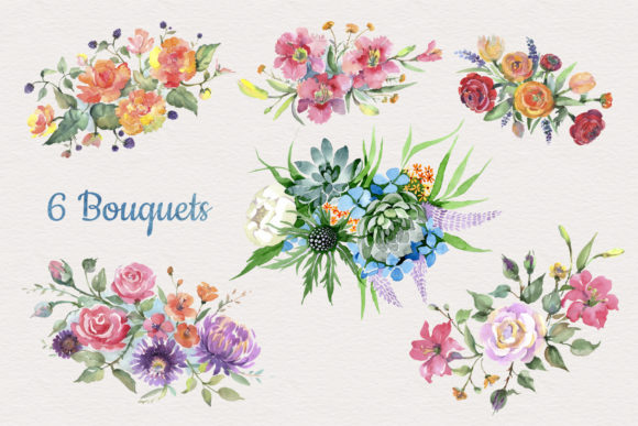 Print on Demand: Bouquet of Flowers Bright Dreams Graphic Illustrations By MyStocks - Image 2