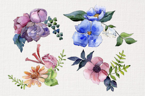 Print on Demand: Bouquet of Summer Flowers Intrigue Watercolor Graphic Illustrations By MyStocks - Image 2