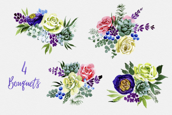 Print on Demand: Bouquet of Colourful Flowers Wedding Watercolor Graphic Illustrations By MyStocks - Image 2