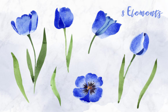 Print on Demand: Tulip Watercolor Clipart Blue Png Graphic Illustrations By MyStocks - Image 2