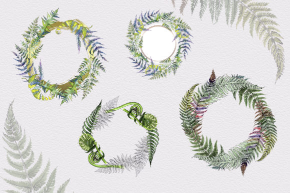Print on Demand: Green Fern Leaves Watercolor Png Graphic Illustrations By MyStocks - Image 3