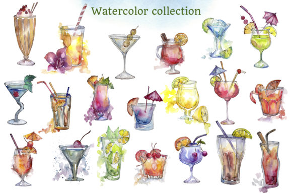 Print on Demand: Cocktail Illustrations Watercolor Party Graphic Illustrations By MyStocks - Image 3