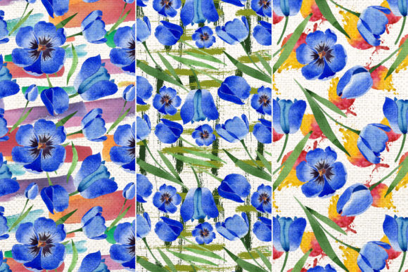 Print on Demand: Tulip Watercolor Clipart Blue Png Graphic Illustrations By MyStocks - Image 5