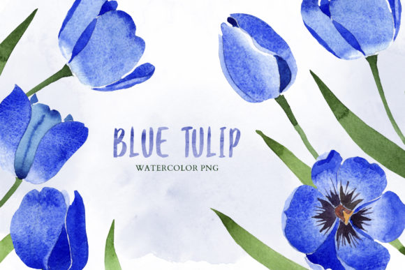 Print on Demand: Tulip Watercolor Clipart Blue Png Graphic Illustrations By MyStocks - Image 9
