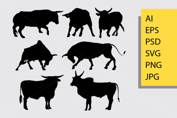 Bull Animal Silhouette Graphic Illustrations By Cove703