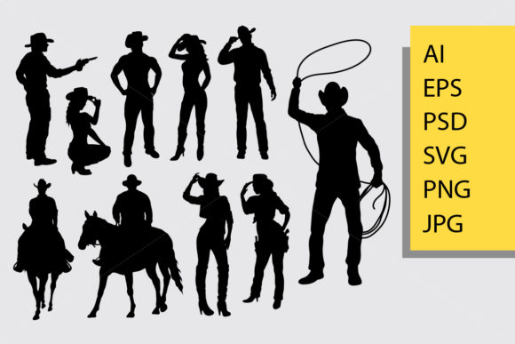 Cowboy Silhouette Graphic Illustrations By Cove703
