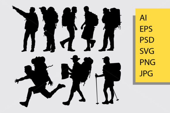 Hiking Silhouette Graphic Illustrations By Cove703 - Image 1