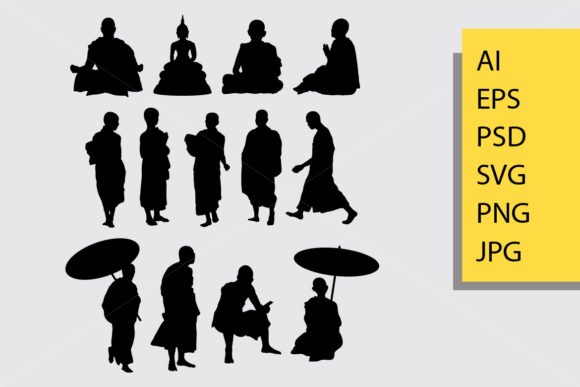 Monk Silhouette Graphic Illustrations By Cove703 - Image 1
