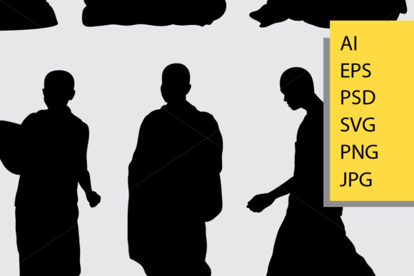 Monk Silhouette Graphic Illustrations By Cove703 - Image 2