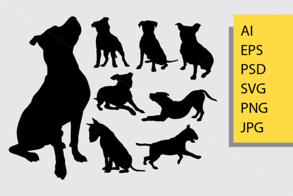 Pitbul Dog Animal Silhouette Graphic Illustrations By Cove703