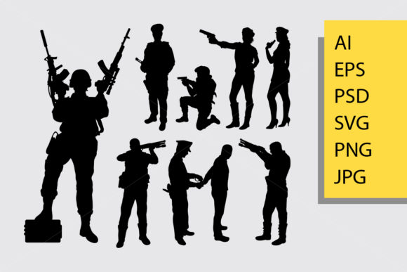 Soldier Silhouette Graphic Illustrations By Cove703