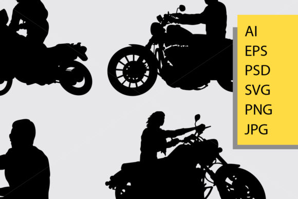 Download Free Riding Motorbike Silhouette Graphic By Cove703 Creative Fabrica SVG Cut Files