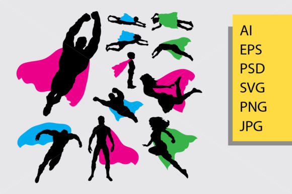 Superhero Silhouette Graphic Illustrations By Cove703