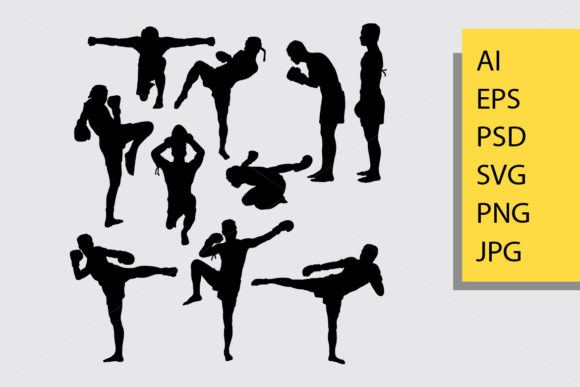 Kick Boxing Silhouette Graphic Illustrations By Cove703 - Image 1