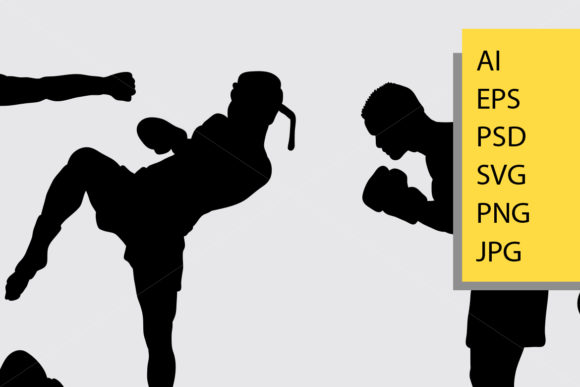Kick Boxing Silhouette Graphic Illustrations By Cove703 - Image 2