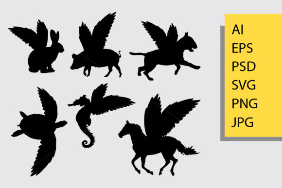Animal with Wings Silhouette Graphic Illustrations By Cove703