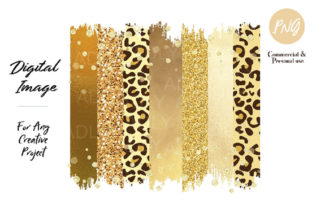 Yellow Leopard Brush Strokes Sublimation Grafik von adlydigital
