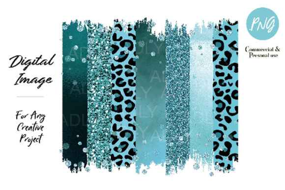 Print on Demand: Turquoise Leopard Brush Strokes Clip Art Graphic Illustrations By adlydigital - Image 1