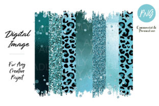 Turquoise Leopard Brush Strokes Clip Art Graphic By adlydigital