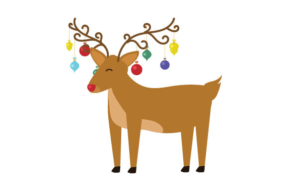 Download Free Reindeer With Ornaments Hanging From Antlers Svg Cut File By for Cricut Explore, Silhouette and other cutting machines.
