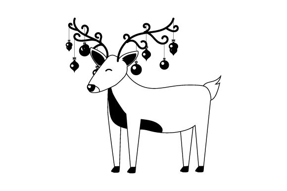 Reindeer with Ornaments Hanging from Antlers Christmas Craft Cut File By Creative Fabrica Crafts - Image 2