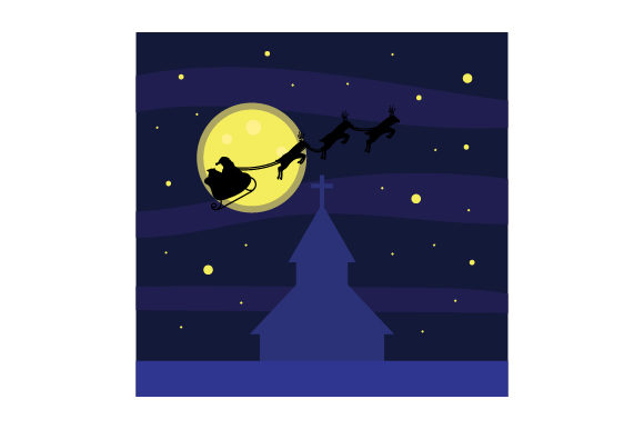 Download Free Santa Flying Sleigh Over Church Svg Cut File By Creative Fabrica for Cricut Explore, Silhouette and other cutting machines.