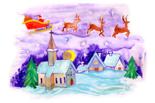 Santa Flying Sleigh over Church in Gouache Style Christmas Craft Cut File By Creative Fabrica Crafts