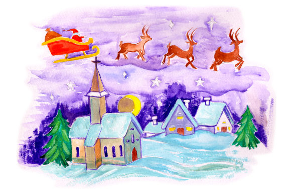 Download Free Santa Flying Sleigh Over Church In Gouache Style Svg Cut File By for Cricut Explore, Silhouette and other cutting machines.
