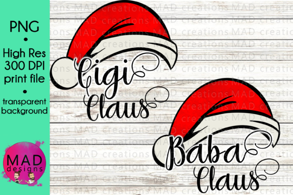 Download Free Baba And Gigi Watercolor Santa Hat Graphic By Maddesigns718 for Cricut Explore, Silhouette and other cutting machines.
