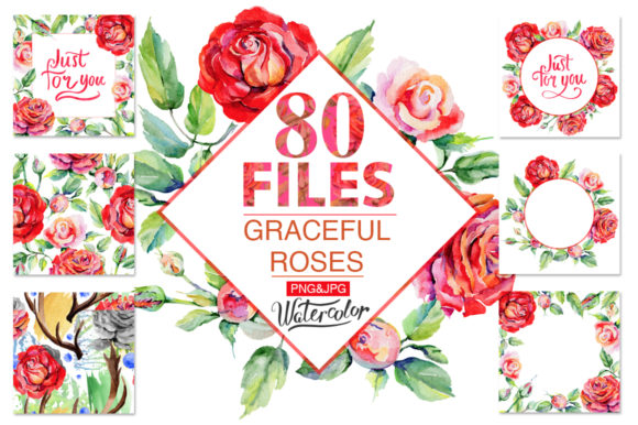 Print on Demand: Roses Red PNG Watercolor Graphic Illustrations By MyStocks - Image 1