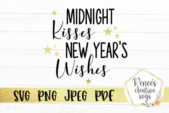 Print on Demand: Midnight Kisses, New Year's Wishes Graphic Crafts By ReneesCreativeSVGs