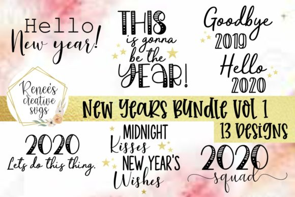 Print on Demand: New Year's Bundle Vol 1 SVG Graphic Crafts By ReneesCreativeSVGs