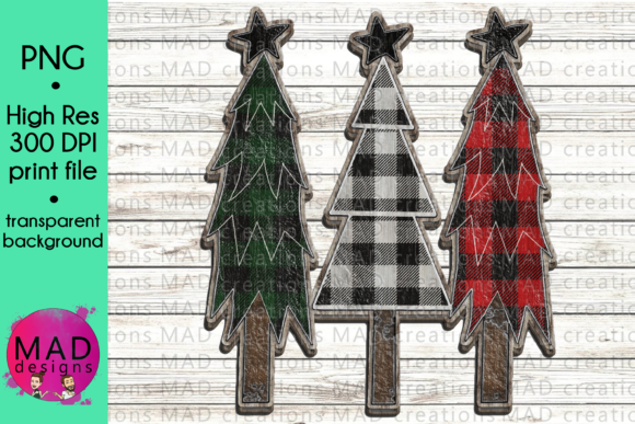 Wooden Buffalo Plaid Trees Graphic By maddesigns718
